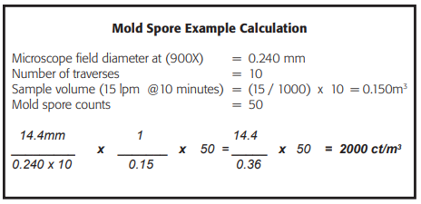 mold spore example calculation